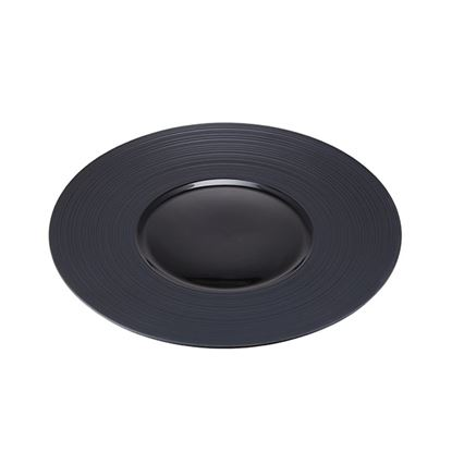 Picture of CONTRA RIBBED BLACK ROUND PLATE 26cm