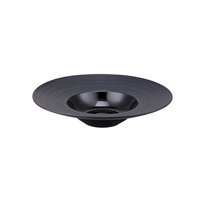 Picture of CONTRA RIBBED BLACK ROUND PASTA BOWL 23cm