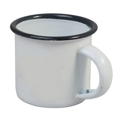 """Picture of ENAMEL ESPRSSO CUP diam 5.3cm/2""""  3.5oz/100ml- GREY RIM"""