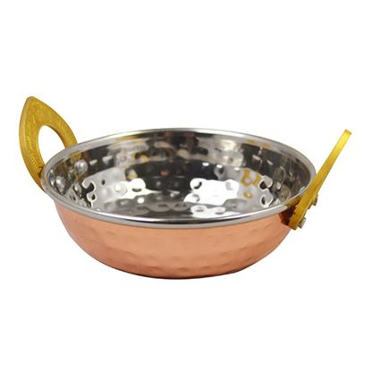 Picture of COPPER PLATED KADAI DISH WITH BRASS HANDLES- 13cm