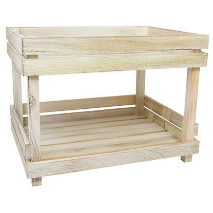 Picture of 'NATURALS' 2 TIER DISPLAY SHELVES WHITE WASH
