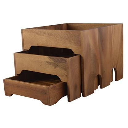 Picture of ACACIA WOOD 3 DRAWER DISPLAY BOX