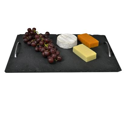 Picture of SLATE TRAY WITH CHROME HANDLES 40CM X 28CM