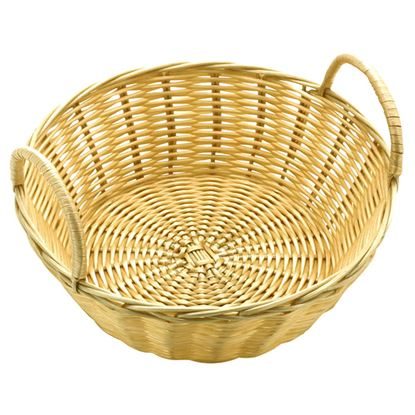 """Picture of POLY RATTAN BASKET RND WITH HANDLES 20CM / 8"""""""