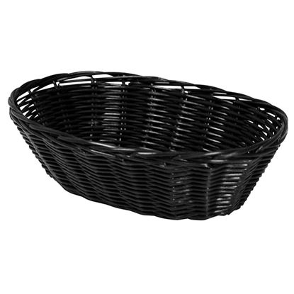 """Picture of POLY RATTAN BASKET OVAL 23 CM / 9"""" BLACK"""