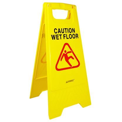 Picture of YELLOW SAFETY SIGNS 'CAUTION WET FLOOR' 3 pack