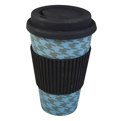 Picture of BAMBOO TRAVEL MUG- HOUNDSTOOTH (400ml/14oz)