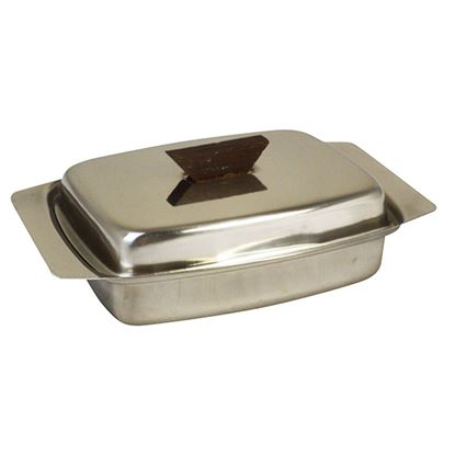 Picture of BUTTER DISH ST ST LID WITH WOODEN KNOB