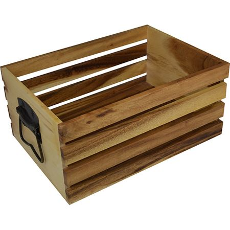 Picture of ACACIA WOODEN CRATE 30 X 41 X 18cm BRASS HANDLE