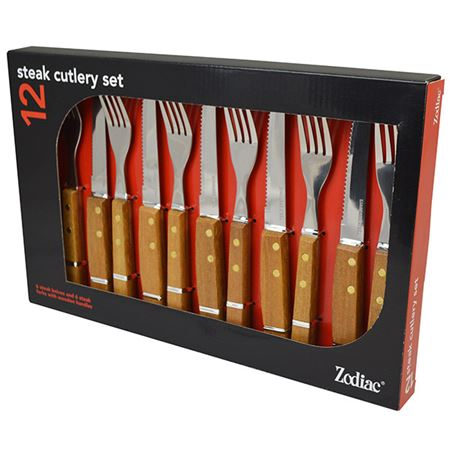 Picture of STEAK SET 12  WOOD HANDLE
