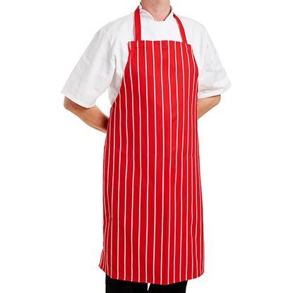 Picture of BUTCHER STRIPE APRON RED