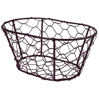 Picture of BLACK CHICKEN WIRE BASKET OVAL 23x17x10.5cm / 9x6.5x4in