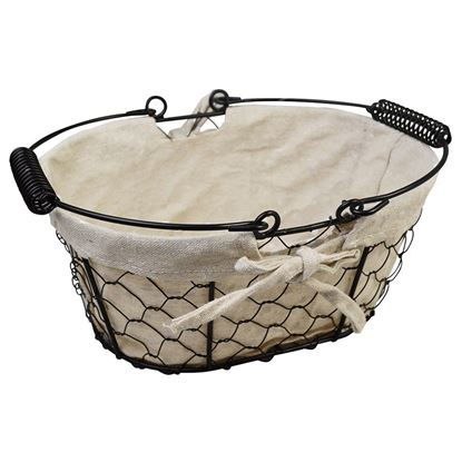 Picture of BLACK CHICKEN WIRE BASKET OVAL WITH HANDLE & FABRIC LINING 25x17x11cm / 10x6.5x4.5in