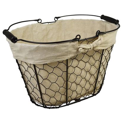 Picture of BLACK CHICKEN WIRE BASKET OVAL WITH HANDLE & FABRIC LINING 35x23x22cm / 145x95x8.5in